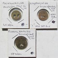 3 Coal Tokens Kingson W. Virginia 1c Evarts Kentucky 5c Pocahontas Virginia 1c