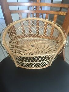 Wicker Rattan Doll Chair Bench Peacock Fan Back Plant Stand Cottagecore Country