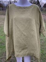 Eskandar GREEN Light Weight Linen Lagenlook Top Size 1 Oversized Blouse Shirt