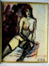 Johannes Rother-vidrio (1956) Original Oleo Sobre Tabla Firmado Desnudo Femenino