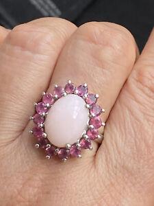925 TGGC Sterling Silver Ruby rose Quartz Cluster Ring -Uk Size P