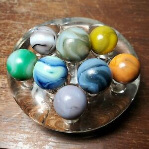 """8 Vintage Swirl Marbles in Assorted Colors Blue Purple Green Yellow 5/8"""" - 3/4"""""""