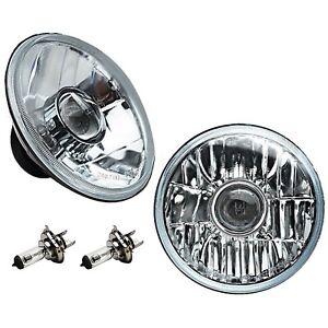 """7"""" Crystal Projector Headlight 6V 60/55W Halogen Clear Light Bulb Headlamp Pair"""