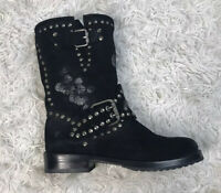 Frye Womens Engineer Mid - Calf Black Boots Size 6 Suede Floral Studded Flower