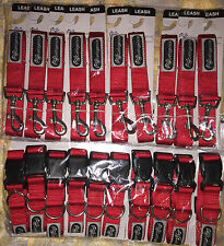 WHOLESALE LOT OF 20 DOG LEASHES AND COLLARS SIZE MEDIUM RED