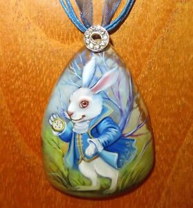 Pendant White Rabbit with pocket watch ALICE in Wonderland hand painted stone