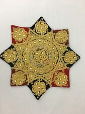 Vintage Velvet Braided Star Accent Pillow Cover Pearls Mirrors Hippie Cotton