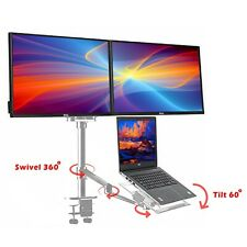 Adjustable Height Table Top Sit/Stand Desk riser fr double monitor/laptop-silver