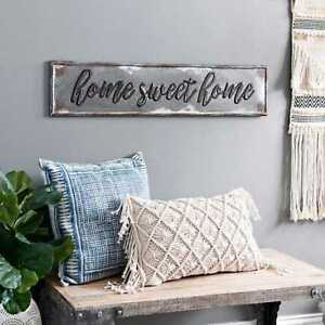 Rustic Farmhouse Home Sweet Home Wall Sign Galvanized Metal Wall Plaque