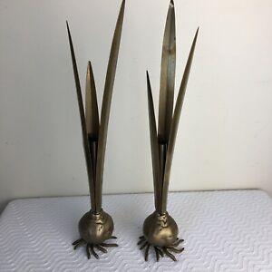 "Vintage Pair 2 Carnevale Bud Vase Verdigris Brass Figural Flower Tulip Bulb 13"""