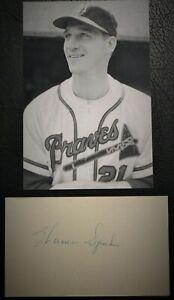 Vintage 1950's Warren Spahn Braves Signed 3x5 HOF D 2003 JSA