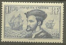 "FRANCE STAMP TIMBRE 297 "" JACQUES CARTIER, BATEAU, CANADA 1F50"" NEUF xx TTB B479"