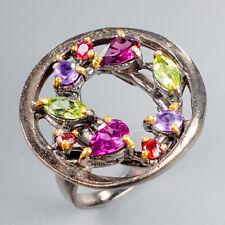 Vintage SET Natural Rhodolite 925 Sterling Silver Ring Size 8.5/R122536