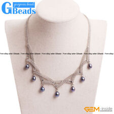 Fashion Jewelry Women Cultured Freshwater Black Pearl Necklace 16-18''