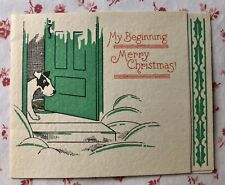 Vintage 1930s Christmas Greeting Card Cute Spotted Puppy Dog Open Front Door