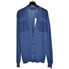 CALVIN KLEIN JEANS Homme Gilet Cardigan Ramie Coton L-Large Blue Sweater Buttons
