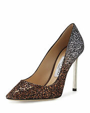 Jimmy Choo Romy Glitter Pointed-Toe 100mm Pump, Bronze/Anthracite Size 42