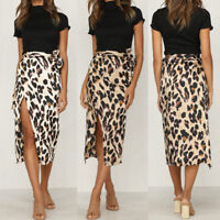 Women Skirt Leopard Print High Waist Long Dresses Sexy Fashion Cocktail Club
