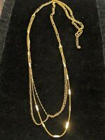 Vintage Estate Gold Tone Figaro Chain Multi Strand Necklace Twist Bar