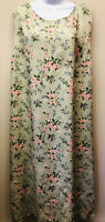 Erika Women's Plus 3X Sage Green Floral Rayon Sleeveless Maxi Dress Side Slits