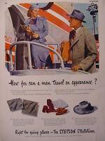 1945 Esquire Advertisements WWII Era STETSON Stratoliner Hats Seagram's 7 Crown