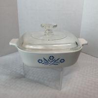 Vintage Corning Ware Blue Cornflower A-1-B 1 Qt Casserole Dish w/ Pyrex Lid A7C