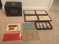 ANTIQUE Bone & Bamboo Chinese Mahjong Mah Jongg Set, 148 Tiles,121 Sticks, Dice