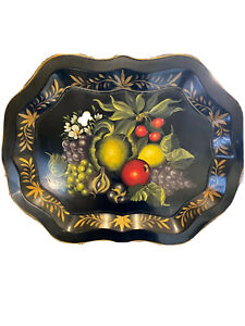 HUGE Vintage Handpainted Black Chippendale Fruit Floral Signed Tole Tray  27 x 2
