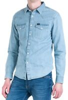 LEE New Mens Western Denim Shirt New Men's Heather Blue Jean Shirts Slim Fit