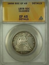 1858 Seated Liberty Silver Half Dollar 50c Coin ANACS EF-45 Details Cleaned