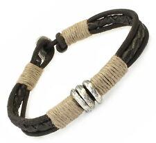 A213 Herren Armband Leder Flechtarmband Biker Rock Surfer Leather Bracelet Men