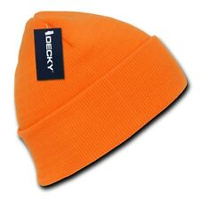 Neon Orange Knit Cuff Beanie Hat Skull Snowboard Winter Warm Ski Hats Beanies