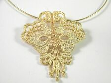 Huge Abstract Floral Pendant on a memory chocker Vintage Necklace New Old Stock