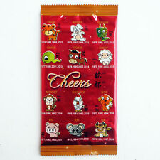 100 X CHINESE ZODIAC FOIL FLAT PACK WET TOWEL