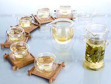 Gongfu Tea Set-Heat Resistant Glass Handle Ear Tea Pot+Strainer+Pitcher+6*Cups