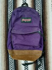 Vintage 1990s Classic Jansport Purple Backpack Leather Bottom - Made In USA Hike