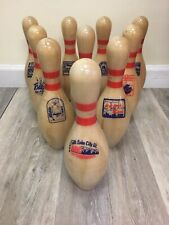 "Set of 10 AMF Championship Wood Bowling Pin Trophy 15"" Authentic 1987-1996 ABC"