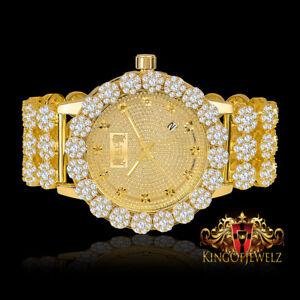 Men Real Diamond Yellow Gold Finish IceHouse Joe Rodeo Cluster Bezel Iced Watch