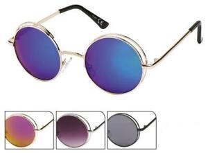 Sonnenbrille Round Glasses John-Lennon-Style 400UV Metalldoppelrahmen verspiegel