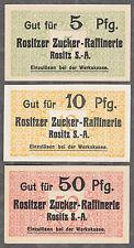 Rositz-raffineria di zucchero - 3 Notgeld banconote a 5 pf., 10 pf. e 50 PF.