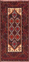 Vintage Geometric Oriental Balouch Area Rug Hand-Knotted Home Decor Carpet 3'x6'