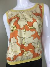 Moschino Yellow Floral Print Silk Top I 46 US 12, ITALY