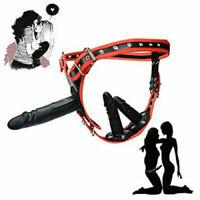 Triple Plug PU-Leather Strapon Ultra Harness Women TO Man Female Panties Fancy