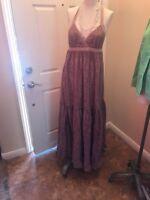 Victorias Secret Moda International Pink Halter Maxi Long Dress Sz M Summer