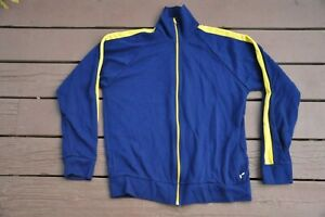Vintage 1970s Court Casuals XL Full Zip Blue/Yellow Tracksuit Track Jacket USA