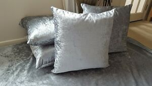 Metallic Effect  SILVER SHIMMERY Crushed Velvet 22in Cushion Cover BEST QUALITY