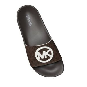 MIICHAEL KORS White POP Textured Monogram Brown Logo GILMORE Slides Sandals