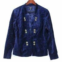 Du Jour Stretch Velvet Blazer with Vintage Buttons Blue Size 6