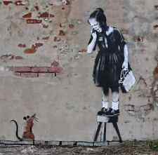 Banksy rat with girl on stoll A3 Box Canvas Print