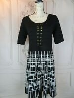 Candie's Fit & Flare Dress Womens Size XL Plaid Knit Midi Length Tied Accent